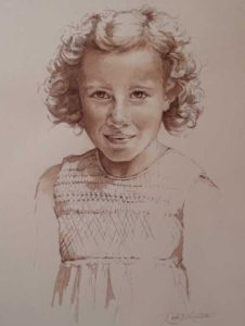 Abby – Pen and Watercolor Child Portrait