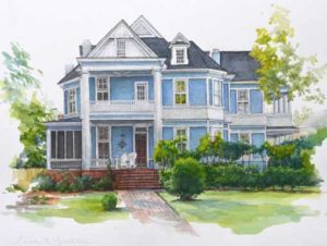 Allgood Home in Pen and Watercolor