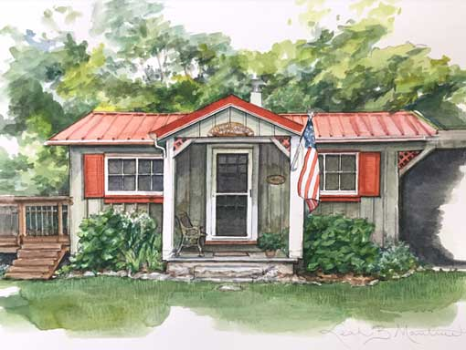 Collins Home in Pen and Watercolor