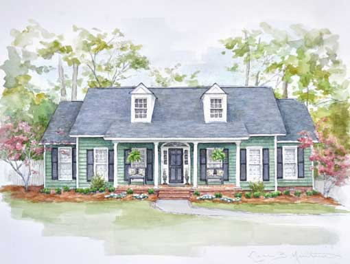 Greene Home in Pen and Watercolor