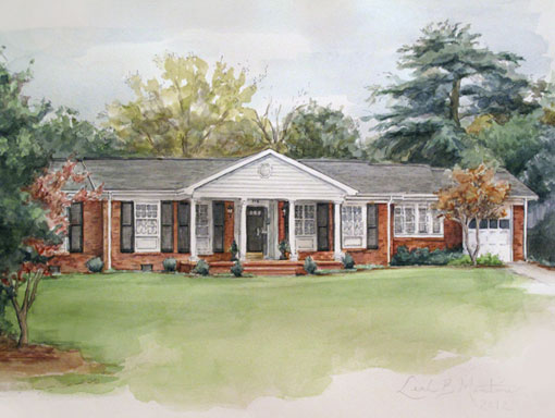 Montrose Home in Pen and Watercolor