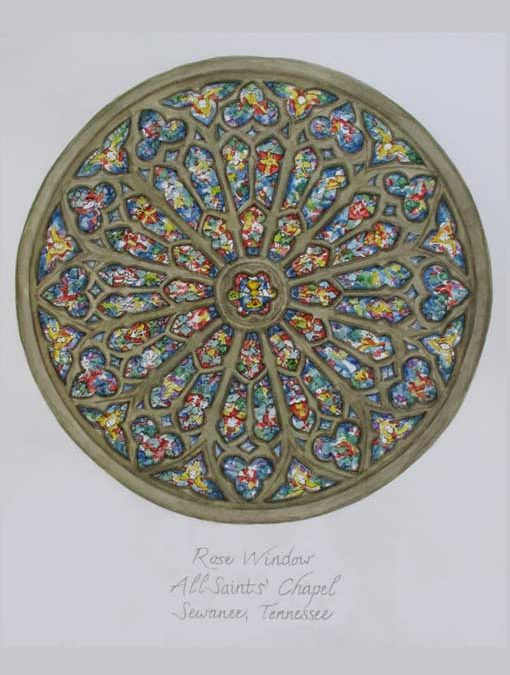 Rose Window – Pen and Watercolor Painting