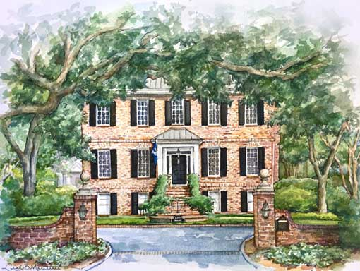 Simmons Home in Pen and Watercolor